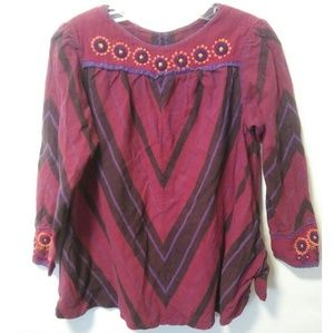 Vintage hippie hobo embroidered peasant flower top